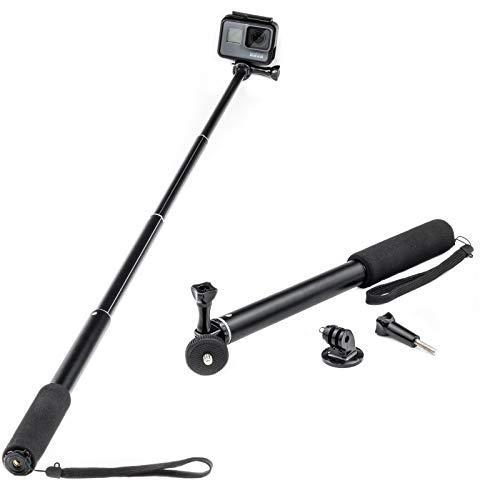 """Monopiede estensibile Bastone Selfie Stick per GoPro Akaso Crosstour Campark Fitfort Garmin VIRB Apeman Sony Camkong Motorola Victure Kitvision Polo Nikon compatto per fotocamera (filetto 1/4 """")"""