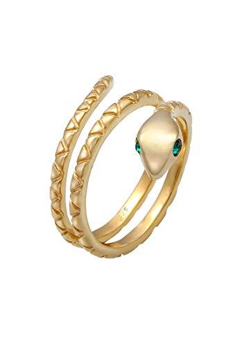Elli Anillos Anillo para mujer con serpiente y cristales de plata esterlina 925