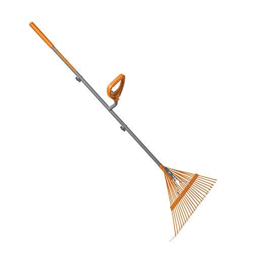 ERGIESHOVEL ERG-LFRK24 Strain Reducing 54-Inch Shaft, 24 Steel Teeth Leaf Rake, Gray/Orange