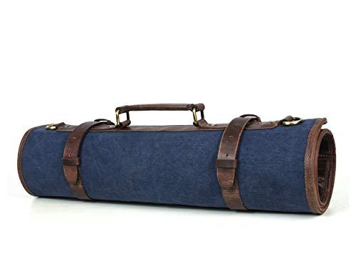 Leather Knife Roll Storage Bag, Elastic and Expandable 10 Pockets, Adjustable/Detachable Shoulder Strap, Travel-Friendly Chef Knife Case (Sapphire (Blue))