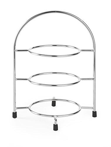 HENDI Teller-Etagere, Dekorative Telleretagere, Tellerständer, Servierständer, geeignet für Teller bis max. Ø170 mm, 185x120x(H)260mm, Verchromt
