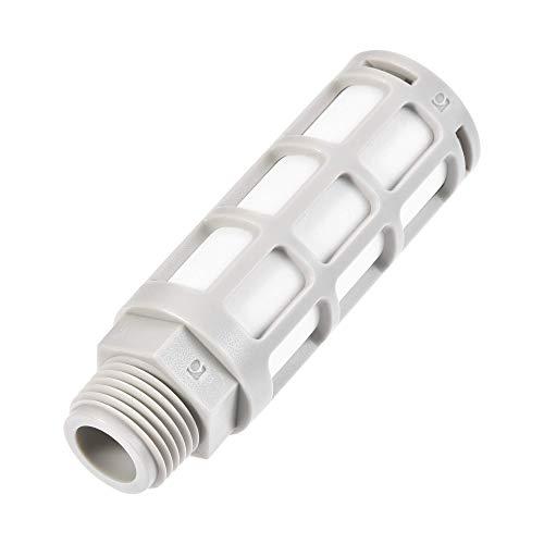 Silenciador neumático de plástico DyniLao, rosca macho G1 / 2, filtro de línea de aire de escape con pantalla de malla, gris
