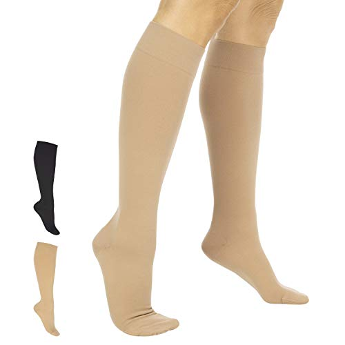 TruCompress Compression Stockings - 15- 20 mmHg for Varicose Veins - Ultra Sheer TED Style Hose for Women and Men - Knee High for Swelling, Soreness, Maternity, Pregnancy and Nurses