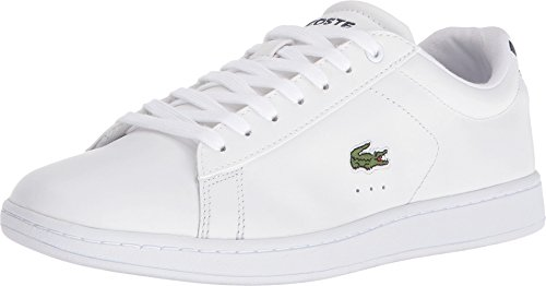 Lacoste Womens Carnaby Evo Bl Sneaker, White/Navy, 7 M US