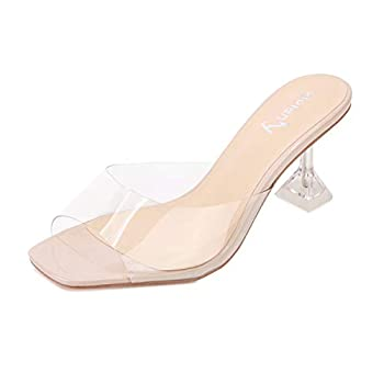 vivianly Womens Clear Heels Sandals Transparent Peep Toe Mules Backless Stiletto High Heels Slip on Heeled Slipper Dress Shoes