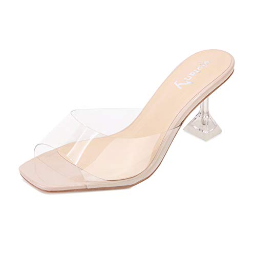 vivianly Womens Clear Heels Sandals Transparent Peep Toe Mules Backless Stiletto High Heels Slip on Heeled Slipper Dress Shoes