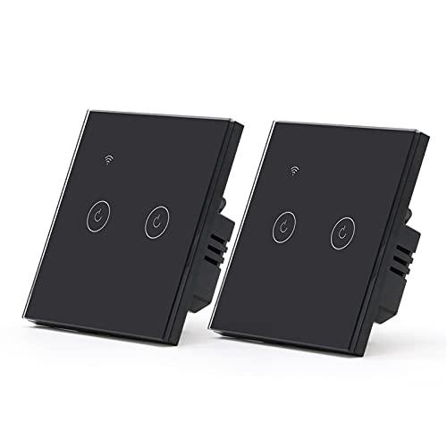 HUANHUAN Huan Store 2Packs WiFi Touch Switch 1Gang 1/2/3 Way Smart Wall Switch Interruttore Wireless Alexa Switch Tuya Home Interruttore 3 Posizioni (Color : WiFi 2Gang Black)