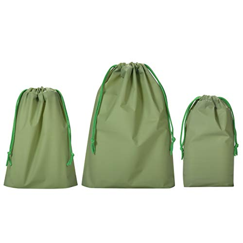Drawstring Treat Cello Bags Assorted Sizes 6x9 8x10 10x13 for Kids Party Favors Goodies Gift Wrapping, Gym Sports Travel Garments Organizing Storage Bottom Gusset, Pack of 15 by Quotidian (Green)