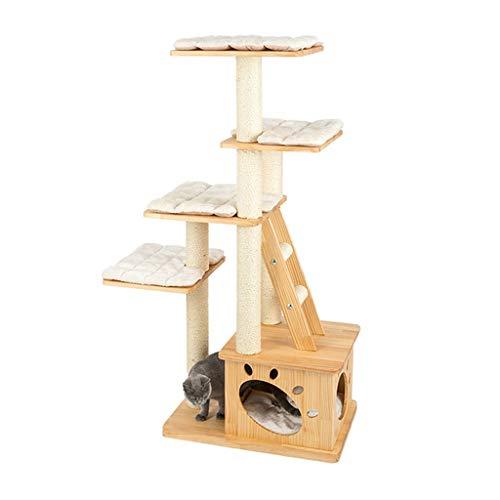 LiPengTaoShop Kratzbaum Cat Turm Katze Möbel Cat Condo Cat House Cat Zubehör Massivholz-Kratzbaum Mit Plattform Natursisal Katze Kratz Aktivität Turm (Color : Beige, Size : 67 * 45 * 146cm)