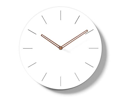 Simple Modern White Round Wooden Wall Clock 11 inch Non-Ticking one AA...