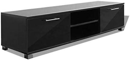 vidaXL TV Schrank Hochglanz-Schwarz Fernsehtisch Lowboard Sideboard TV Möbel