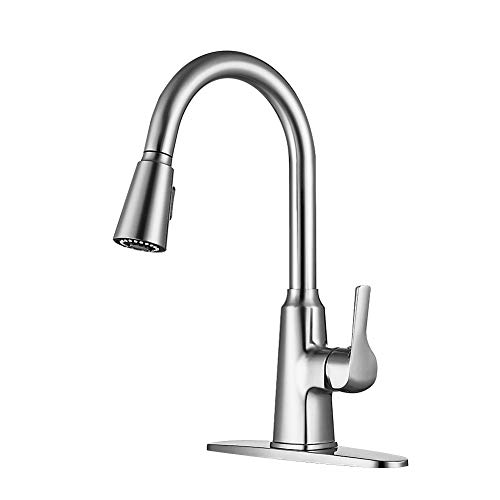 Cheapest Prices! Single Handle Stainless Steel Brushed Nickel Kitchen-Sink-Faucet-Pull-Down-Sprayer