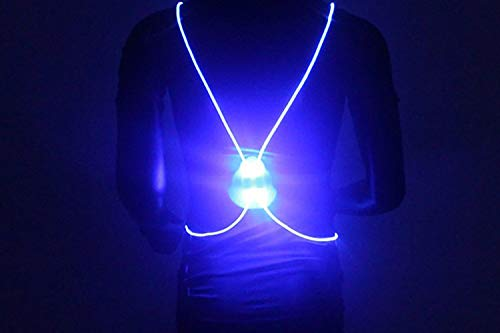 KAILUN Led Luz del Chaleco Iluminado Advertencia Carrera Nocturna Caminar Montar Chaleco Reflectante Cinco Colores con Pilas,Blue