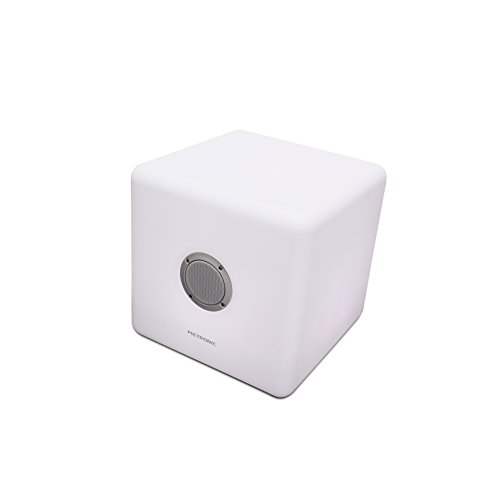 Metronic Lumicube - Altavoz Bluetooth para Exterior (LED, Potencia 40W, hasta 8 Horas de autonomía) Color Blanco