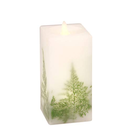 SILVERSTRO Flameless LED Candle Flickering Flame(D 3.25' x H 6.5') with 6 Hours Timer, Asparagus Embedded Battery Operated Candle, Double LED Pillar Candle for Bedroom Kitchen Party Christmas Decor