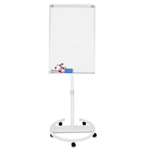 Jago® Flipchart mit Rundfuß – 60 x 90 cm, höhenverstellbar, Staffelei, Stiftablage, mit zahlreichem Zubehör - Magnetisches Whiteboard, Magnettafel, Präsentationstafel, weiße Magnettafel