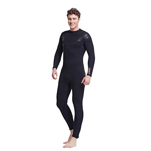 JenLn Traje de Snorkel Cálido Siameses Hombres Camiseta de Manga Larga Traje adecuados for bucear y Nadar Invierno Traje de baño de Hombres (Color : Black, Size : 3XL)
