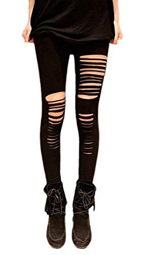 Tamskyt Damen-Leggings, Nylon, Schwarz / Weiß, sexy, Netzleggings, enge Hose, einfarbig, Einheitsgröße Gr. One size , Schwarz-4