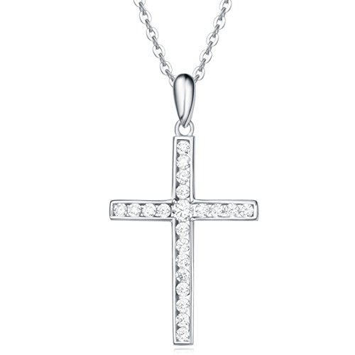 Sterling Silver Channel Setting Cubic Zirconia CZ Simulated Diamond Small Crucifix Cross Pendant Necklace for Women Girls with 18 Inch Sterling Silver Chain