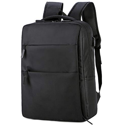Laptop Backpack, Business Bags with USB Charging Port Anti-Theft Water Resistant Polyester School Bookbag Travel Backpack (Color : Black)