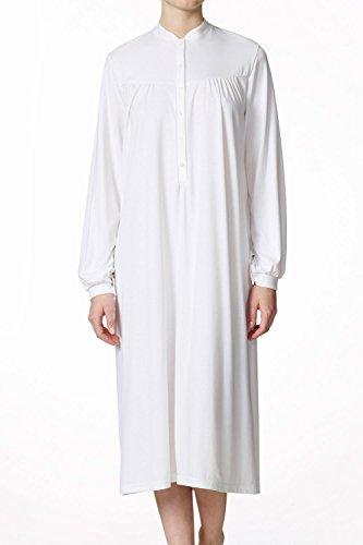 Calida Langarm-Nachthemd mit Knopfleiste Größe 48, Farbe Weiß