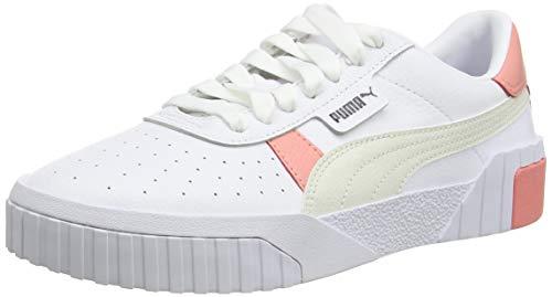 Puma Cali Wn S, Zapatillas para Mujer, Blanco/Salmón Rosa/Gris Vaporoso, 41 EU