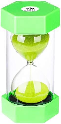 Sanduhr 2 Minuten: bunte Sanduhr 2 Minuten, kleine grüne Sanduhr 2 Minuten, Kunststoff-Sanduhr für Kinder, Spiele, Dekoration, Klassenzimmer, Küche, Zahnbürstentimer