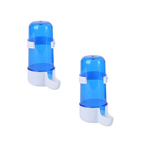 2er Pack Vogeltrinkbrunnen Automatische Kunststoff-Wasserzufuhr Käfig Hängende Trinkflasche für Vögel Blue Bird Trinkbrunnen 240ML