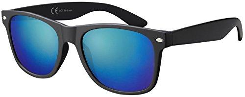 Sonnenbrille La Optica UV 400 CAT 3 CE Damen Herren Nerd - Einzelpack Matt Schwarz (Gläser: Grün Verspiegelt)