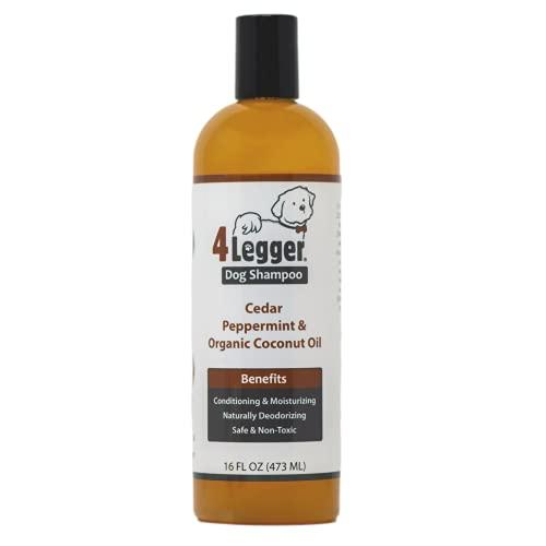4Legger Organic Dog Shampoo and Conditioner: All Natural Cedar Dog Shampoo with Peppermint, Eucalyptus Essential Oil and Aloe for Normal, Dry Itchy Skin, Hot Spots, Odor - USA - 16 oz