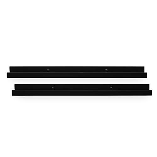 PHOTOLINI 2er Set Bilderleiste Schwarz 70 cm aus MDF inkl. Montagematerial | Galerieboard | Regalboard | Wandregal | Bilderboard