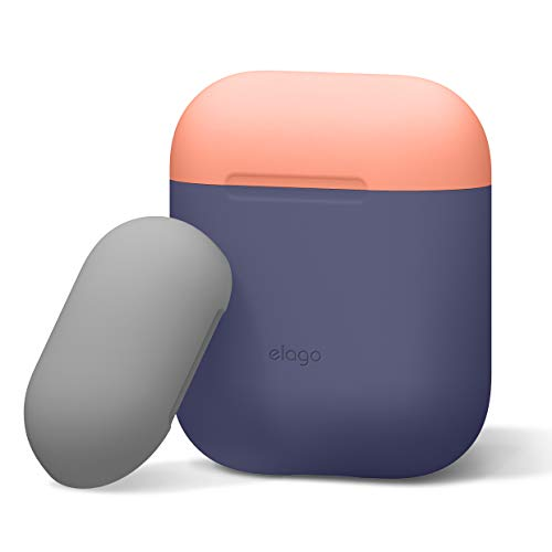 elago Duo Silikonhülle Kompatibel mit Apple AirPods 1 & 2 (LED an der Frontseite Nicht Sichtbar) - [2 Caps & 1 Body] [Unterstützt kabelloses Laden] - Jean Indigo/Peach, Medium Grey