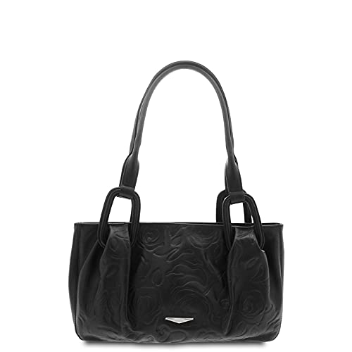 GIUDI  - Woman bag in calfskin leather, rose print, genuine leather, shoulder bag, Made in Italy., Black (Black) - 4835/STR/VLV/COL
