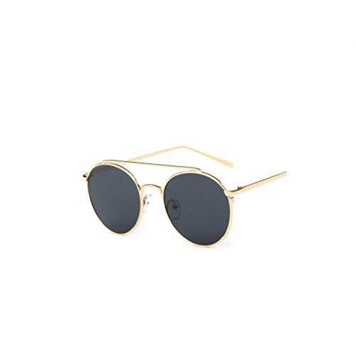 IUwnHceE Marco de protección UV Mujeres Gafas de Sol polarizadas Espejo del Metal Gafas de Sol de Oro Gris de la Lente de los vidrios al Aire Libre 1PC