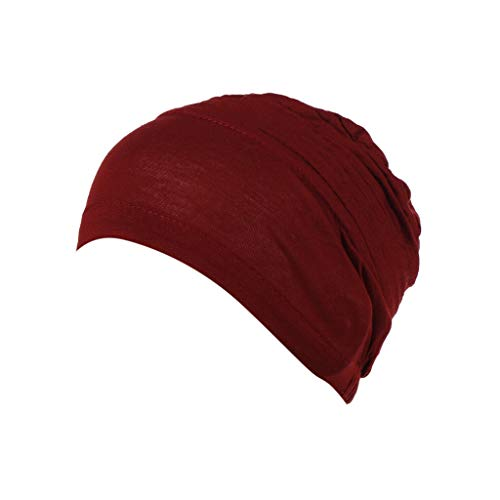 YEZIJIN Women Pleated Beanie Turban Chemo Cancer Cap Bonnet Head Wrap Scarf Muslim Hijab 2019 Best Outdoor Sun Visor Hat Wine Red