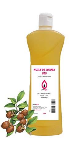 HUILE DE JOJOBA BIO 1Litre - 100% Pure et Naturelle, Pressée à froid & Extra Vierge ,Certifié Cosmos d'Ecocert - Purespa by Purenail