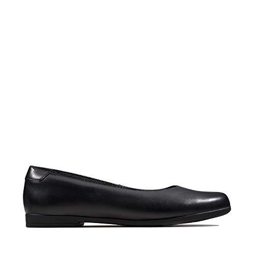 Clarks Mädchen Scala Glide Y Geschlossene Ballerinas, Schwarz (Black Leather Black Leather), 38 EU