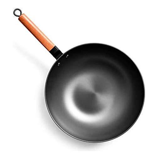 QIXIAOCYB Wok chino fundido de hierro wok hierro fondo redondo mango de madera sin recubrimiento pan de madera asa doméstico asa de cocina ligero menos aceite humo antiguo moteado hierro fundido olla