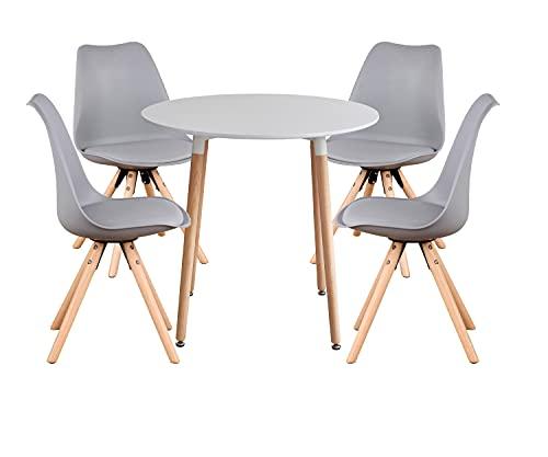Esszimmerstühle und Tisch 4er Set Polsterstühle mit Buchenmaterial Stuhlbein und rundem weißen Tisch für Esszimmer Wohnzimmer