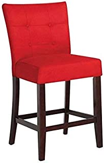 ACME Baldwin Red Microfiber Counter Height Chair Set of 2