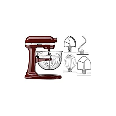 KitchenAid KF26M2XGC 6-Qt. Professional 600 with Glass Bowl - Gloss Cinnamon Dark Red