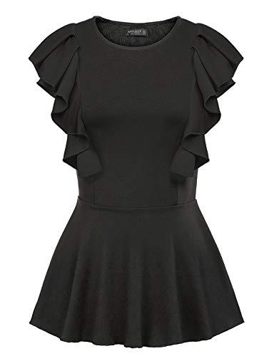 ANGGREK Women Peplum Tank Tops Round Neck Sleeveless Stretch Ruffle Shirt Blouse Black M