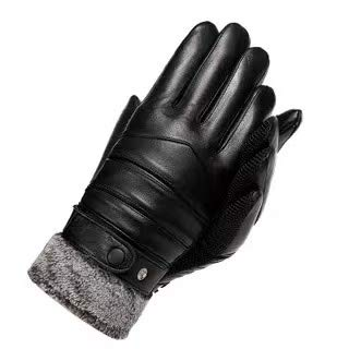 Ubrand FUNGGORD Winter Leather Gloves for Mens Touchscreen Snap Closure Gloves,Cashmere/Fleece Lined Glove for Motorcycle Driving Riding Warm Waterproof Gloves