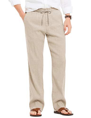 JINIDU Pantalones de algodón y lino para hombre, corte holgado, ligeros, elásticos, para yoga, playa, 2 blancos., L