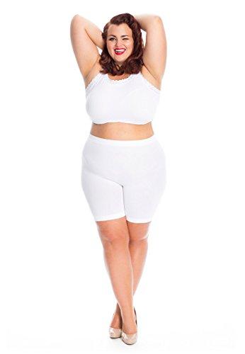 All woman Culotte Anti-Friction des Cuisses Grande Taille Plus Size FR40-44 (L-2XL) Blanc