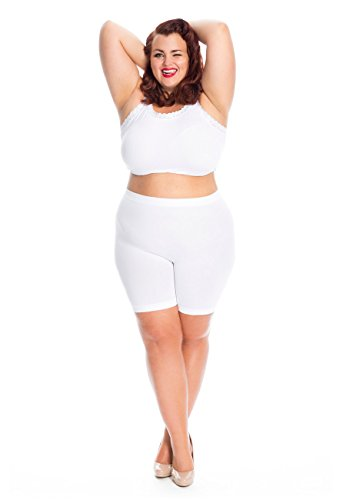 All Woman Damenunterwäsche in großen Größen gegen Wundscheuern der Oberschenkel, aus leichtem Stoff und mit kurzen, rutschfesten Beinabschlüssen (46/50, Weiß)