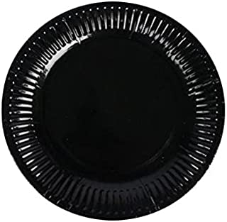 PARTY TIME - 20-Pieces Disposable Paper Plates Black (7 Inches)