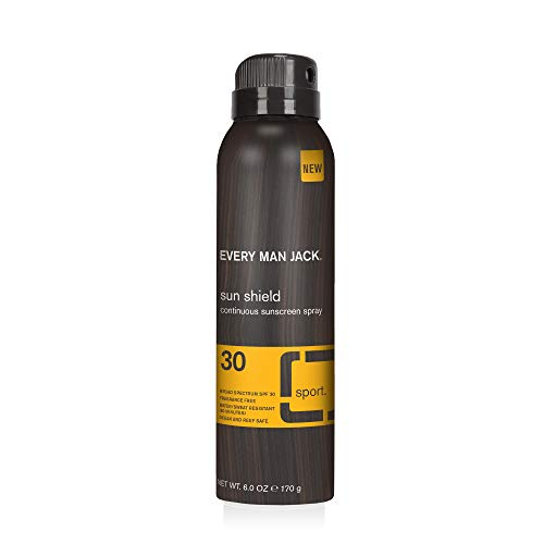 Every Man Jack Sun Shield Continuous Sunscreen Spray - SPF 30 | 6-ounce - 1 Bottle Included | Water and Sweat Resistant, Non-Greasy, Oxybenzone Free, Ocean and Reef Safe