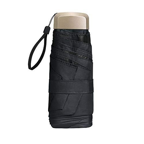 Vicloon Mini Regenschirm, Taschenschirme Mit 6 Rippen, 210T Stoff & Aluminium Schirmständer, Sonnenschutz Regenschirm Im Freien UV Faltender Regenschirm, Goldener Griff, Leicht Kompakt - Schwarz