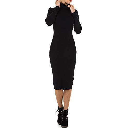 Ital-Design Wollmix Strick Kleid Für Damen, Schwarz